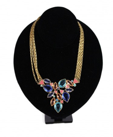 YSL GOLD AQUA PINK STONE NECKLACE