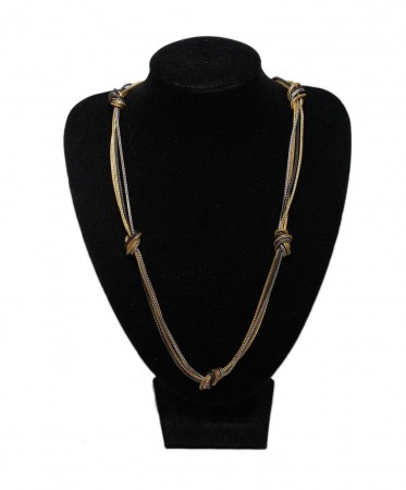 YSL METALLIC GOLD SILVER GUNMETAL ROPE NECKLACE