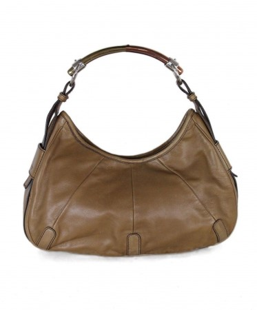 YSL TAN LEATHER SHOULDER BAG