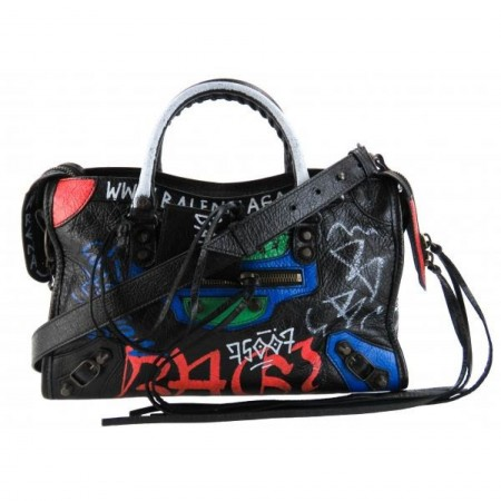 Balenciaga Black Leather Classic Graffiti Mini City Shoulder Bag