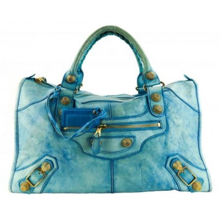 Balenciaga Blue Agneau Leather Giant 21 City Shoulder Bag​