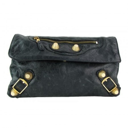 Balenciaga Dark Green Leather Giant 21 Envelope Clutch Bag
