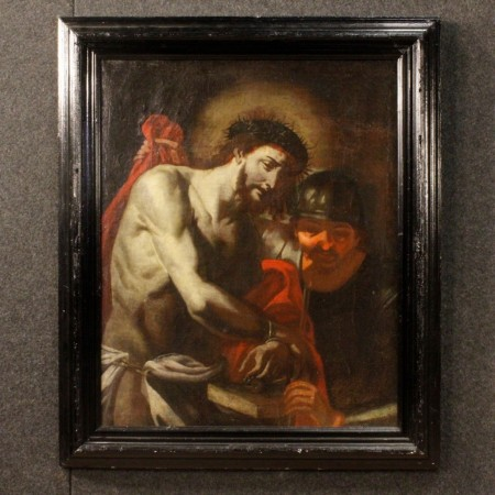 18th Century Oil on Canvas Italian Religious Ecce Homo Christ Painting, 1730