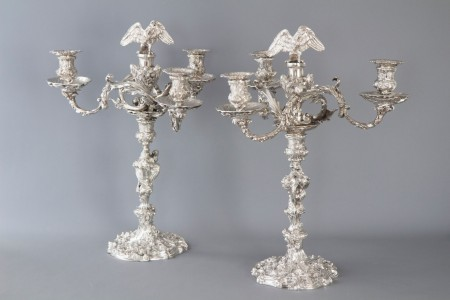A Pair of Cast Silver Four-Light Candelabra, London 1812 by William Pitts