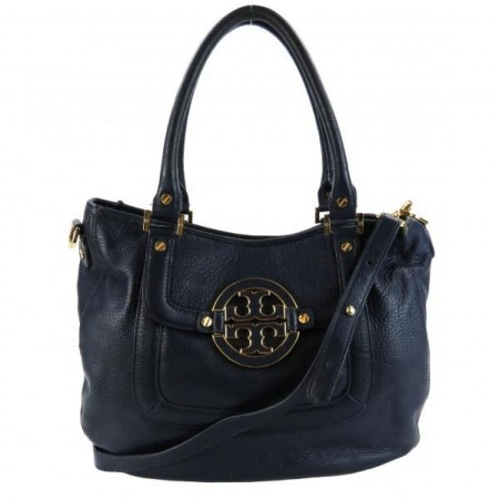 Tory Burch Navy Blue Pebbled Leather Amanda Hobo Bag