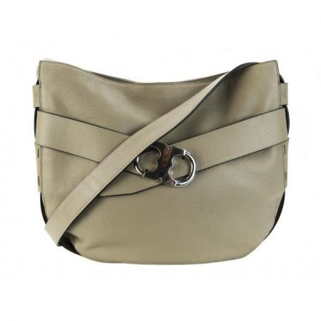 Tory Burch Taupe Pebble Leather Gemini Link Crossbody Bag