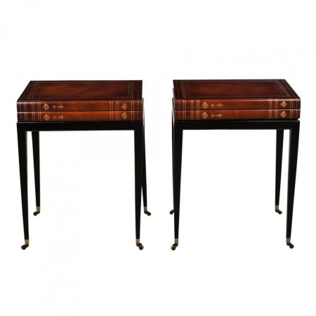Pair of Two Unique Book Design Side Tables in Regency-Style