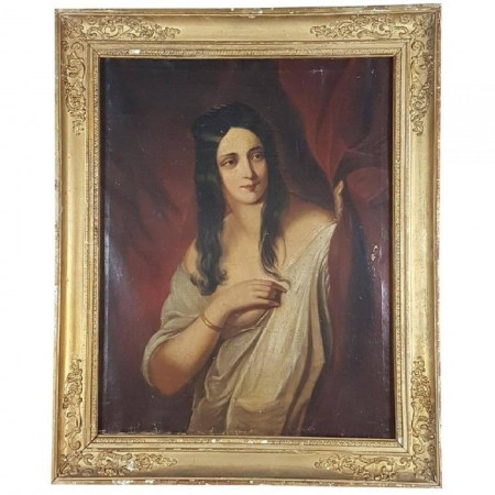 Antique French Oil Painting Gilt Frame Portrait of Woman