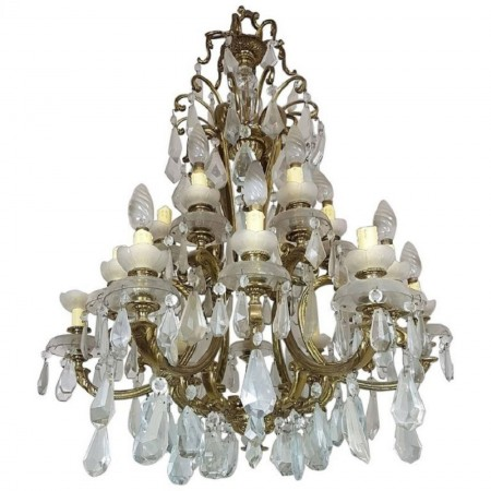 Antique Italian Gilded Bronze and Crystals Luxury Chandelier