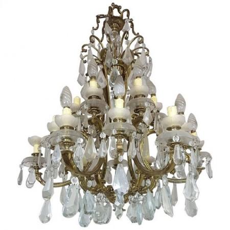 Antique Italian Gilded Bronze and Crystals Luxury Chandelier