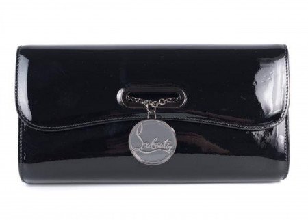 CHRISTIAN LOUBOUTIN WOMEN'S BLACK PATENT LEATHER RIVERA CLUTCH BAG