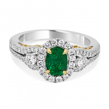 Emerald Diamond Halo Two Color Gold Three Stone Bridal Fashion Ring