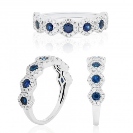 Blue Sapphire Round Diamond Halo Gold Stackable Fashion Band Ring