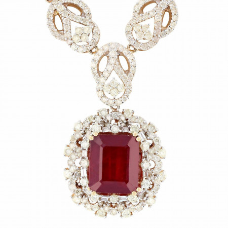 12.48ct Ruby and 7.09ctw Diamonds 14K Yellow Gold Pendant/Necklace