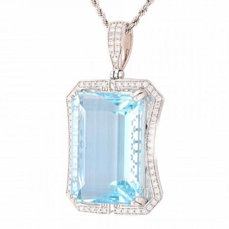 54.80ct Aquamarine and 0.86ctw Diamond Platinum Pendant/Necklace (GIA CERTIFIED)