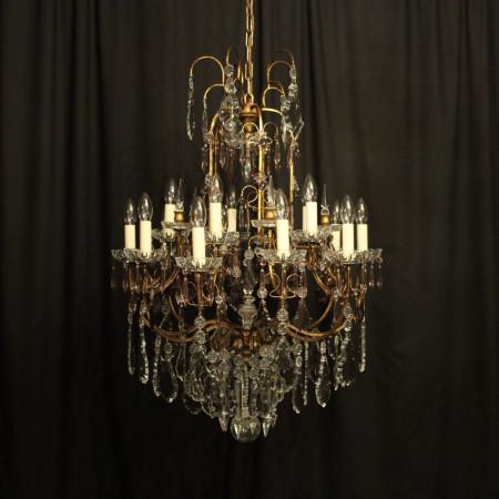 Italian Florentine Crystal 15 Light Chandelier