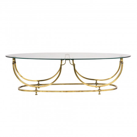 Modern Brass and Glass Oval Cocktail Table  C-7390