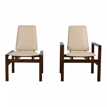 Set of 2 Mid-Century Modern Brown Saltman Lounge Chairs C-8774