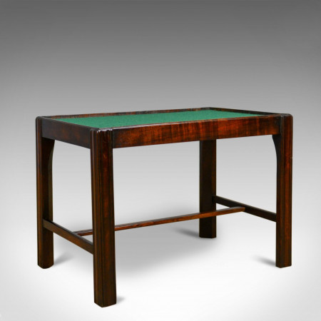 Vintage, Baize Top Side Table, English, Mahogany, Late 20th Century