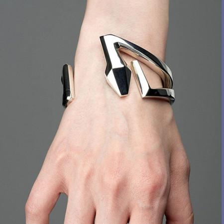Sterling Snake Cuff Bracelet with Hinge