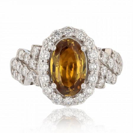 2.59ct UNHEATED Orange-Yellow Sapphire and 1.05ctw Diamonds Platinum Ring (GIA C