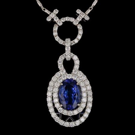 4.68ct Tanzanite and 2.82ctw Diamond 14KT White Gold Pendant/Necklace (EGL USA C