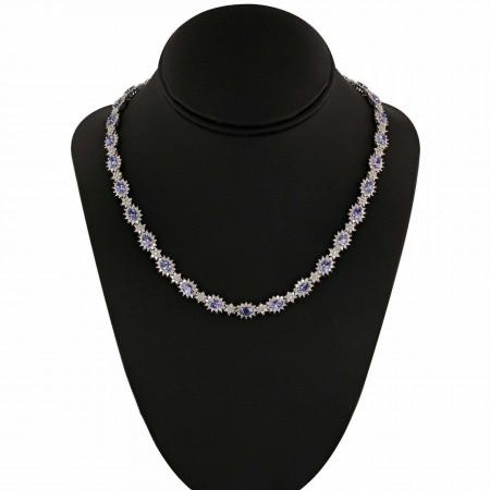 14.93ctw Tanzanite and 8.34ctw Diamond 14K White Gold Necklace