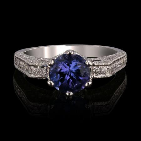 1.81ct Tanzanite and 0.46ctw Diamonds 14KT White Gold Ring