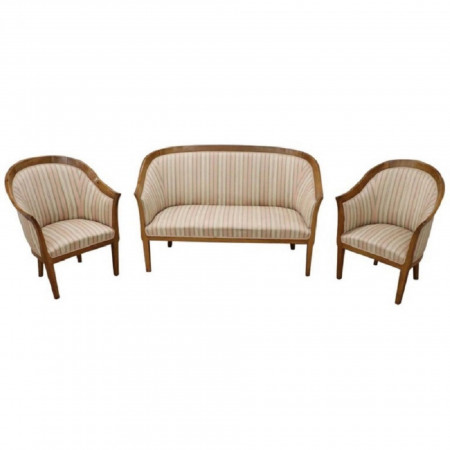20th Century Italian Art Deco Walnut Living Room Set or Salon Suite