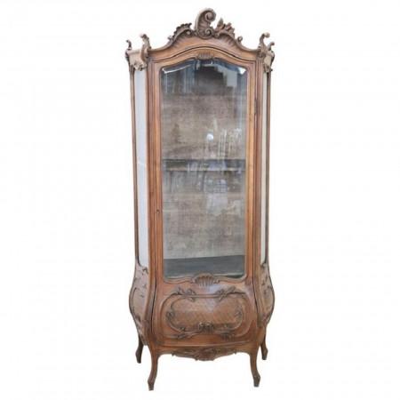 19th Century Italian Rococo Style Carved Walnut Vitrine or Cupboard