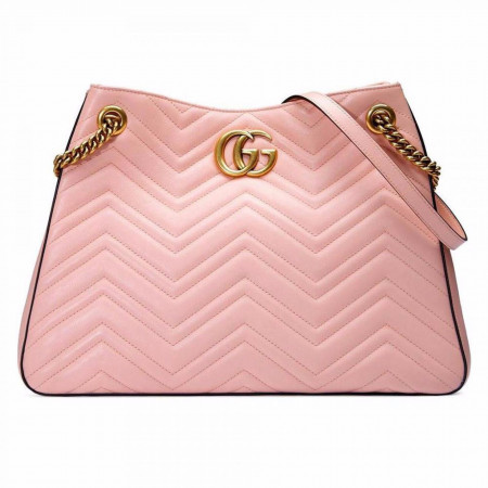 GUCCI PINK GG MARMONT MATELASSE LEATHER SHOULDER BAG