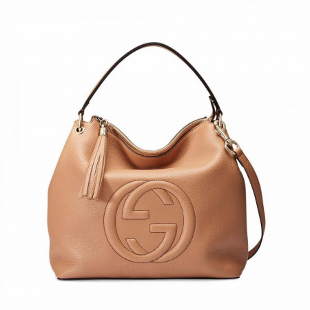 GUCCI SOHO LARGE LEATHER CELLARIUS BAG, CAMELIA