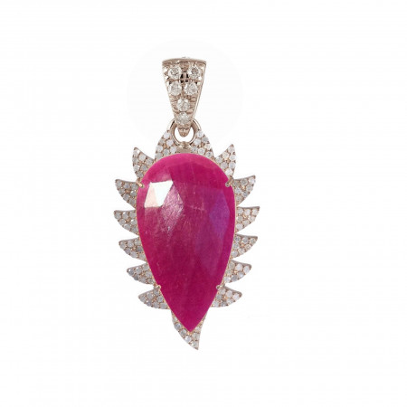 Meghna Jewels Claw Rubelite Diamonds Pendant Necklace
