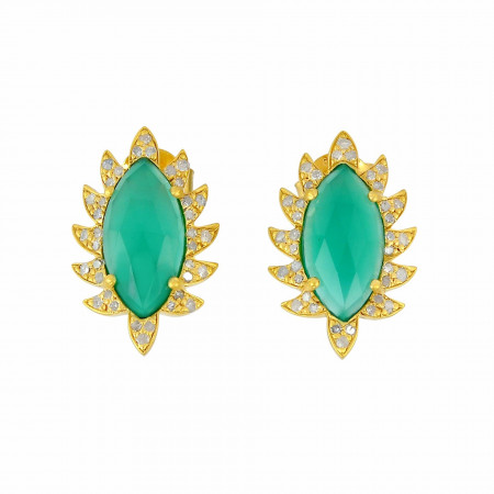 Meghna Jewels CLAW Stud Earrings Green Onyx and Diamonds
