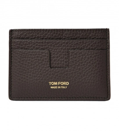 Tom Ford Grained Leather Credit Card Brown Wallet Y0232T-C95