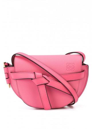 LOEWE WOMENS WILD ROSE PINK LEATHER GATE MINI SHOULDER BAG