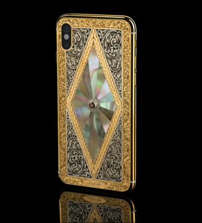 "Bespoke iPhone 11 pro 512Gb ""Momentum"", diamonds , hand engraving solid 24k gold"