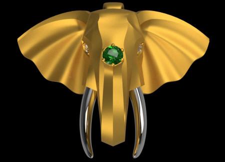 Elephant Head Pendant or Pin/Brooch - 24K Gold & .9999 Platinum