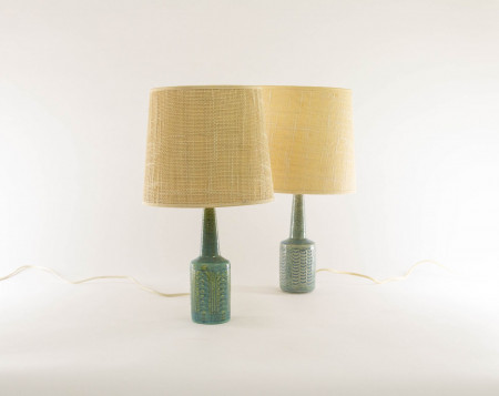 Two pale & baby blue table lamps DL/21 by Per Linnemann-Schmidt for Palshus