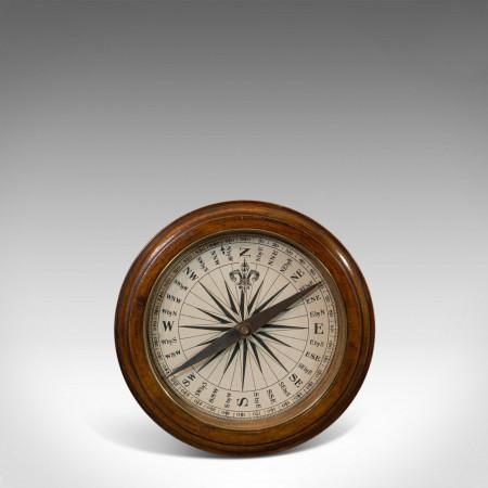 Antique Desk Compass, English, Oak, Maritime, Ship, Regency, Circa 1830