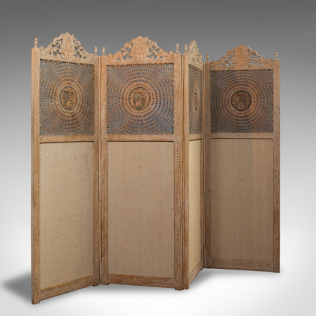 Antique Victorian Screen, English, Limed Oak, Cane, Room Divider, Wall Panel