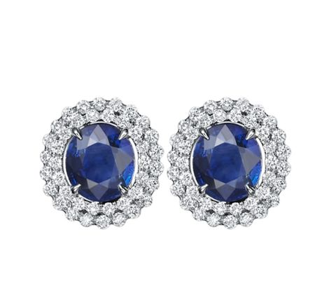 TAK FOOK - 18K SAPPHIRE DIAMOND EARRINGS
