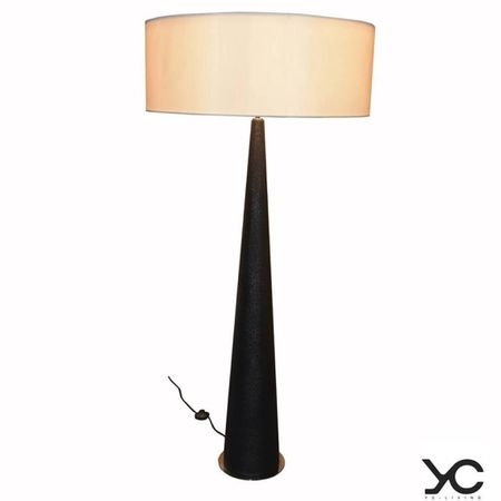 Standing lamp with Foglizzo galuchat embossed black leather