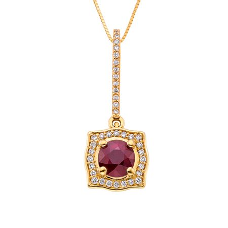 Diamond and Ruby Pendant in 18K YG