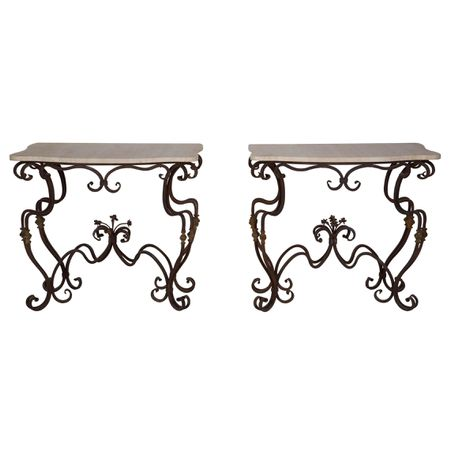 French Wrought Iron Console Tables