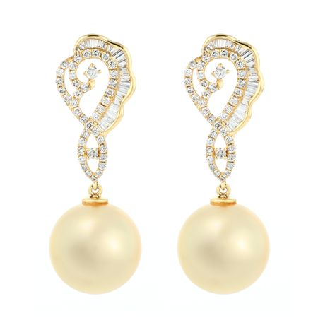 Pearl Drop Diamond Earrings