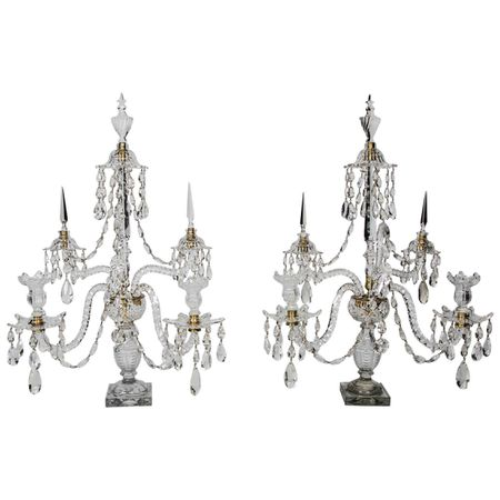 Pair of FIve Branch Cut Crystal Candelabras
