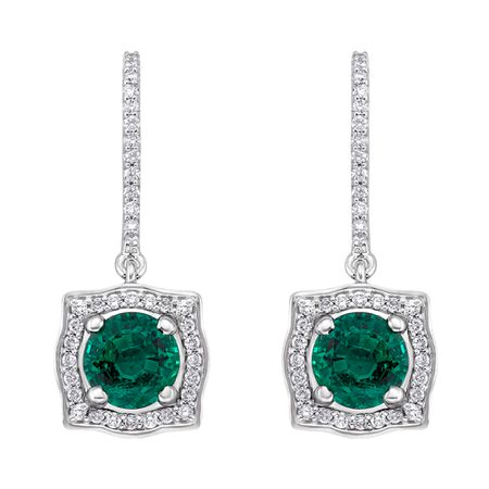 Diamond, Emerald Earrings in 18K WG