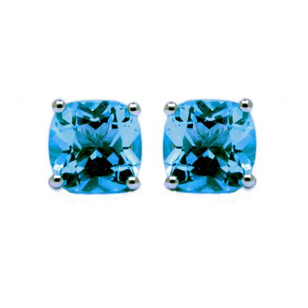 Sterling Silver Swiss Blue Topaz Studs