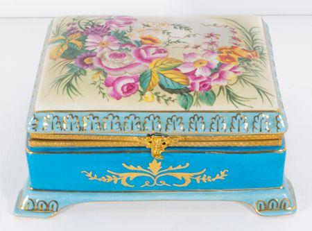 Sevres Style Gilded Blue Porcelain Casket